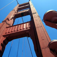 One of the towers of the Golden Gate Bridge in San Francisco